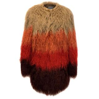 Grace & Oliver Amber Shaggy Faux Fur Coat with Lamb Leather Trim