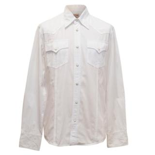 True Religion White Denim Shirt with Press Studs
