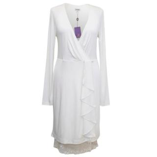 Rohmir White Wrap Dress with Lace Edge