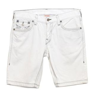 True Religion White Denim Shorts with Black Stitching