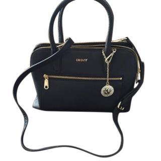 DKNY Tribeca double zip navy leather handbag