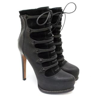 Dior Platform Biker Boots with Lace Up Detail