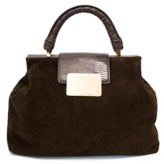 Halston Chocolate Brown Suede Flap Over Tote