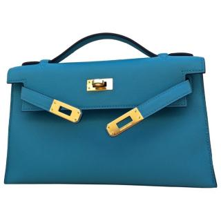Brand New Hermes Kelly Cut Pochette in Bleu Saint Cyr