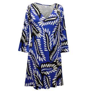 Diane Von Furstenberg electric blue swing dress