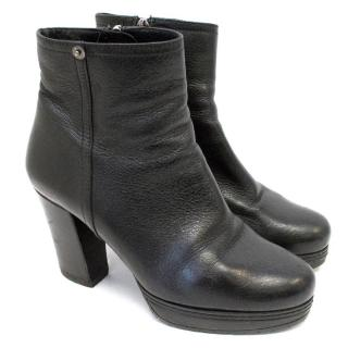 Prada Black Zip Up Ankle Boots