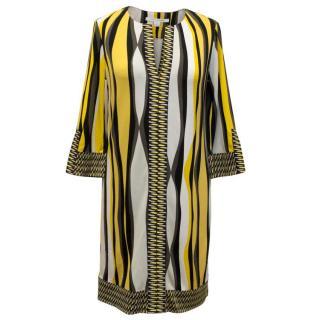 Diane Von Furstenberg Yellow Pattern Shift Dress