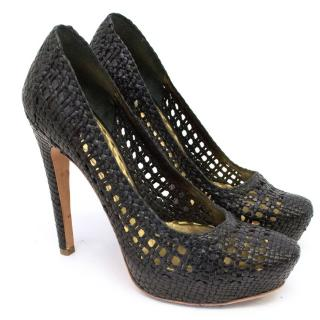 Prada Woven Leather Pumps