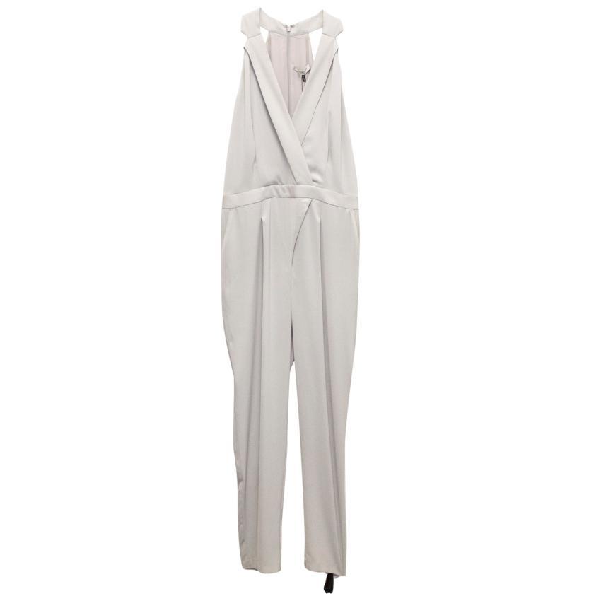 Halston Light Grey Halter Tuxedo Jumpsuit