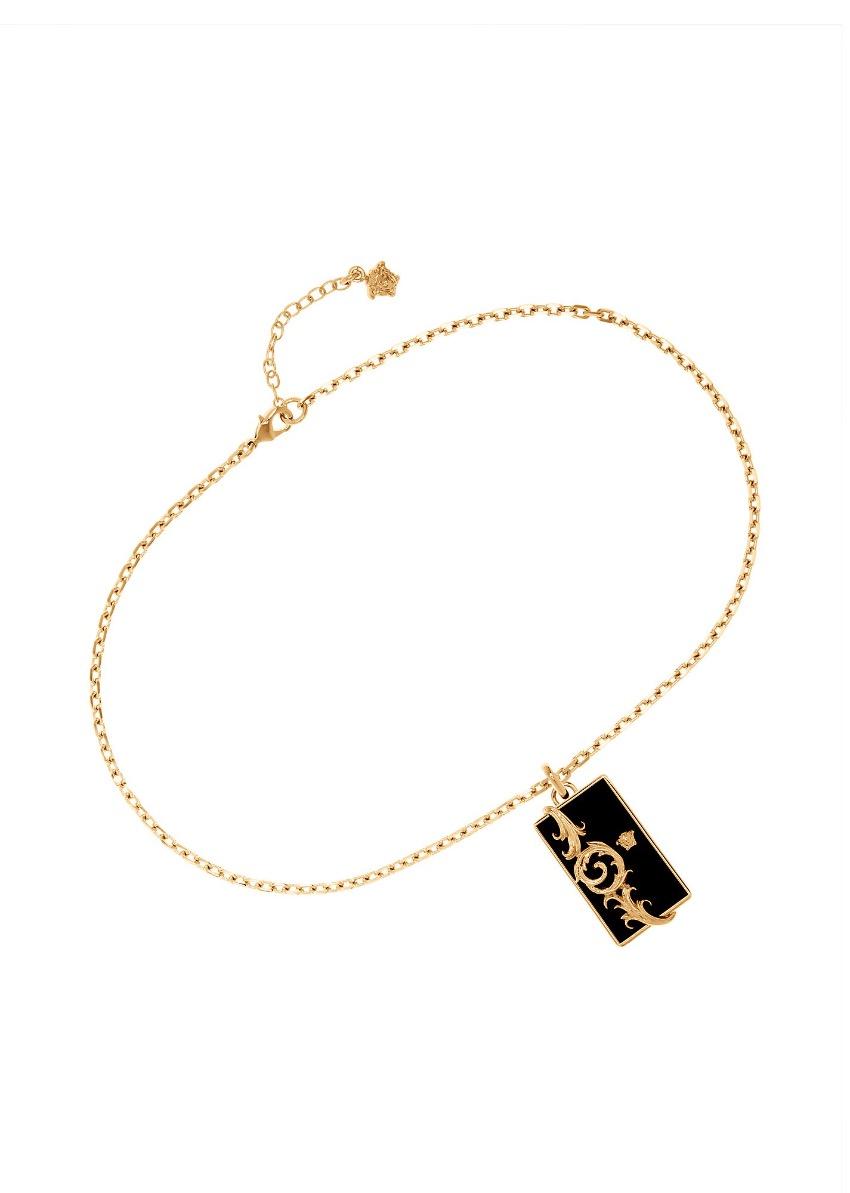 Versace Men's Ornate Resin Bar Pendant Necklace