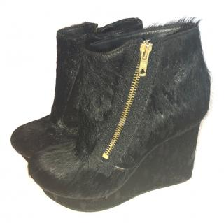 Diesel Black Pony Fur Wedge Boots with Zipper