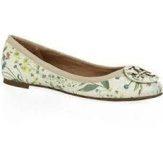 Tory Burch Reva Botanical Print Floral Leather Ballerina Flats