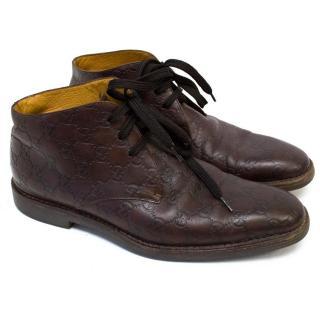 Gucci monogram lace up short boots