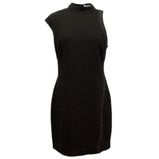 Halston Heritage Black High Neck Crepe Dress with Studs