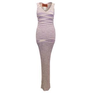 Missoni Purple knit maxi dress with under slip
