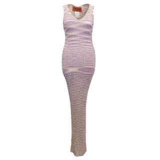 Missoni Purple knit maxi dress with under slip