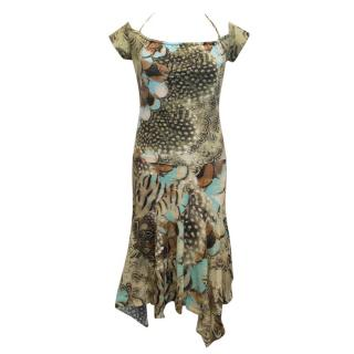 Roberto cavalli green patterned two piece