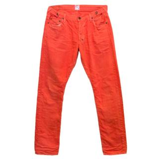 PRPS Red Distressed Straight Leg Jeans