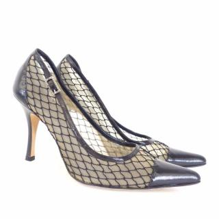 RENE CAOVILLA Black Leather and Net / Lace Pointed Pumps