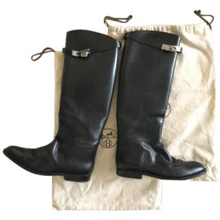 Hermes riding boots with kelly straps