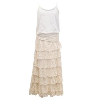 Jay Ahr Long Cream Dress with Lace Skirt