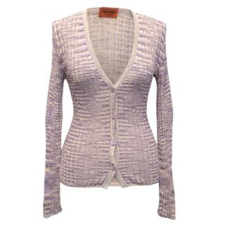 Missoni Lilac Knit Button Down Cardigan