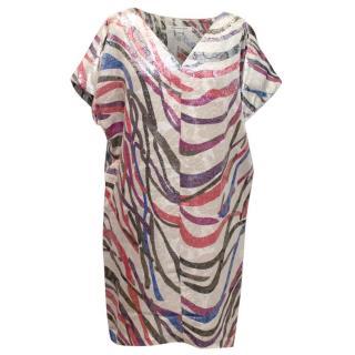 Diane Von Furstenberg Metallic Striped Tunic Dress