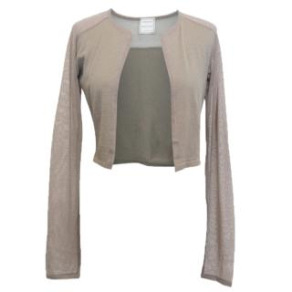 Amanda Wakeley Mushroom Grey Cardigan with Mesh Sleeves