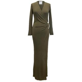 Amanda Wakeley Khaki Green Long-sleeved Maxi Dress