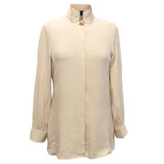 Fendi Beige Silk Blouse with Matte Gold Buttons