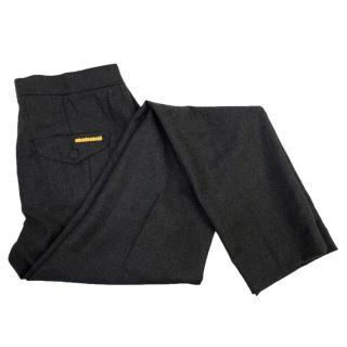 Roberto Cavalli grey wool trousers with gold logo