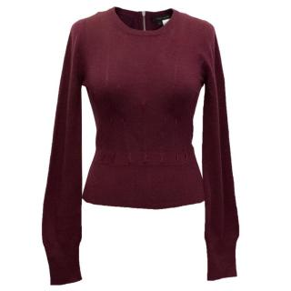 Marc Jacobs Wool and Cashmere Zip-Up Burgundy Jumper