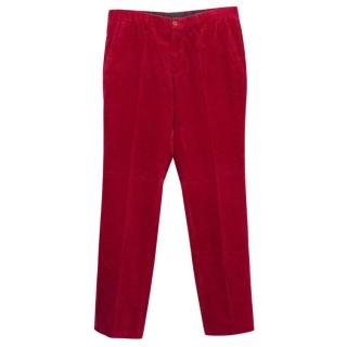 Polo by Ralph Lauren Red Corduroy Straight Leg Trousers