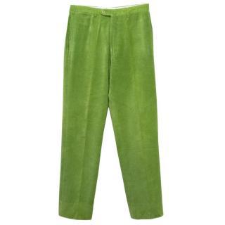 Jay Kos Green Corduroy Straight Leg Trousers