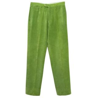 Jay Kos Green Corduroy Straight Leg Trousers