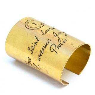 Saint Laurent Gold Tone Y - Mail Cuff