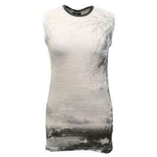 Balmain Grey Print Tank Top