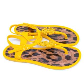 Roberto Cavalli Yellow Jelly Sandals with Crystal Logo