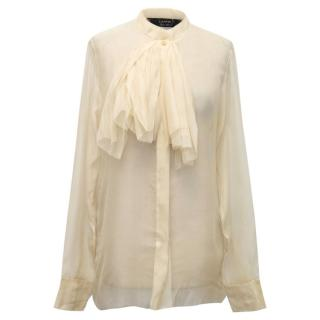 Lanvin Frayed Sheer Cream Blouse with Frill Detail
