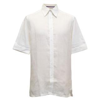 Ozwald Boateng bespoke linen cream short sleeved shirt