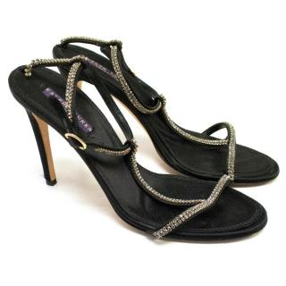 Ralph Lauren black satin sandals with crystals