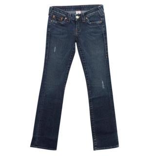 True Relgion Blue Straight Leg Distressed Jeans