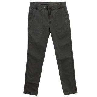 James Perse black drawstring distressed chino trousers