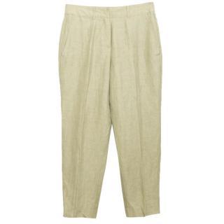 Donna Karen olive green straight leg trousers