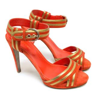 Sergio Rossi Orange Suede Gold Trim Sandals