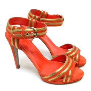 Sergio Rossi Orange Suede Gold Trim Sandals