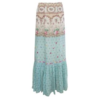 Blumarine Blue Floral Pattern Skirt with Embroidery