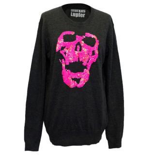 Markus Lupfer grey skull sequin embellished sweater