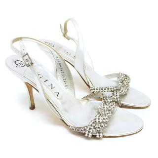 Gina Silver And Diamante Heeled Sandals
