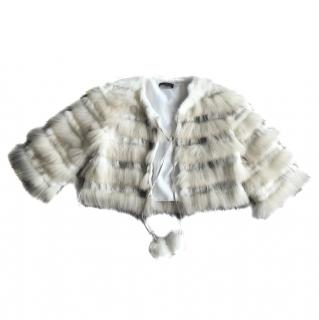 Hale Bob Fur Jacket with Pom Pom